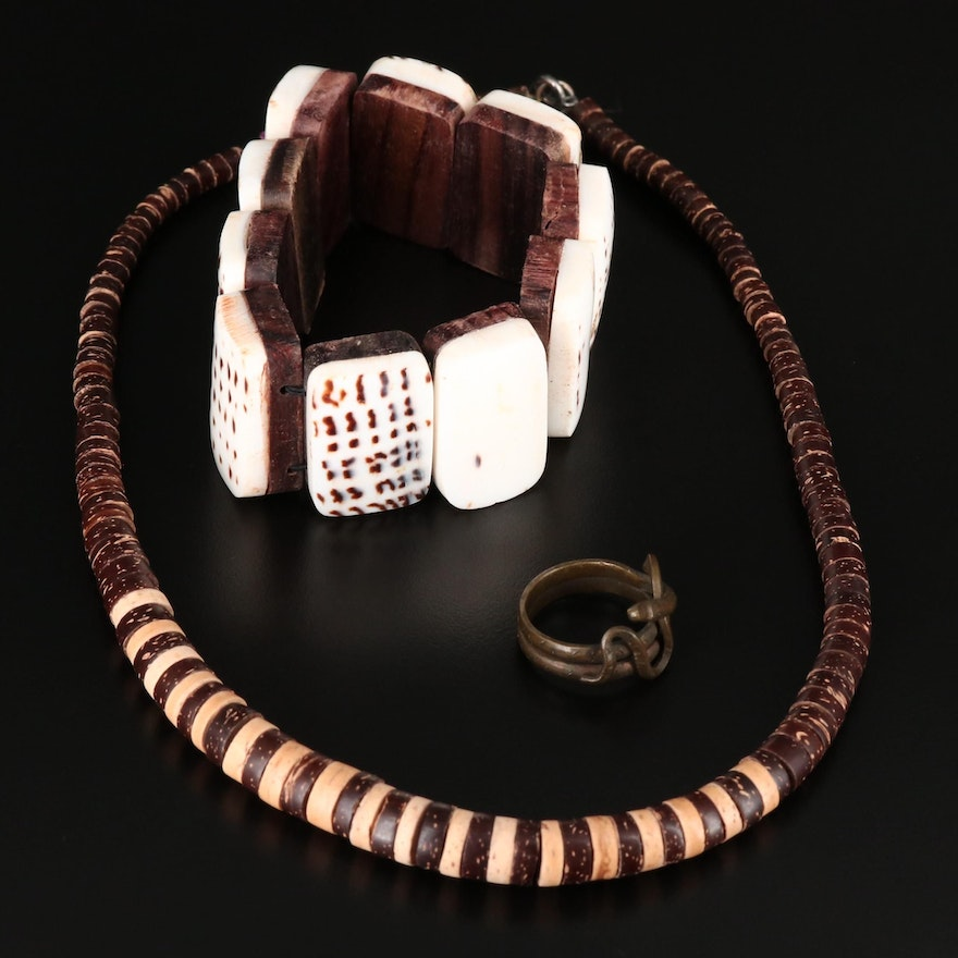 Collection of Jewelry Including Shell Panel Bracelet and Carved Wood Necklace