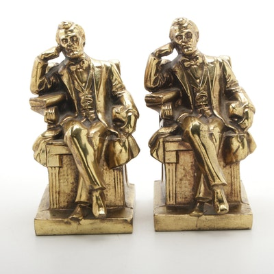 Abraham Lincoln Gold Tone Ceramic Bookends