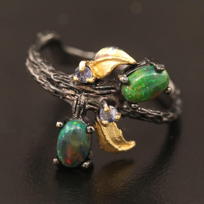 Sterling Smoked Opal and Iolite Branch and Foliage Motif Ring