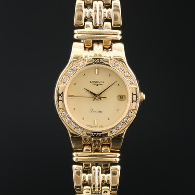 Longines Laureate Diamond and Gold Tone Quartz Wristwatch