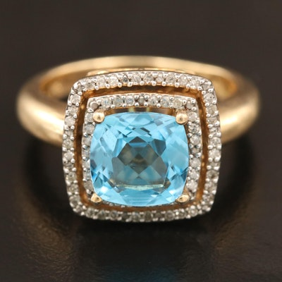 Sterling Topaz and Diamond Double Halo Ring