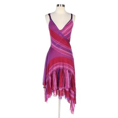 Missoni Ruffled Crochet Knit Sleeveless Dress Over Silk Blend Slip Dress