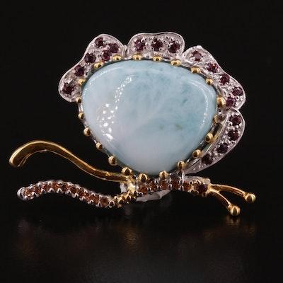 Sterling Silver, Larimar, Garnet and Sapphire Butterfly Brooch