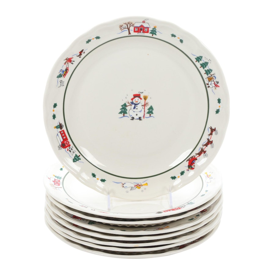 "Pfaltzgraff ""Snow Village"" Dinner Plates, Set of Eight"