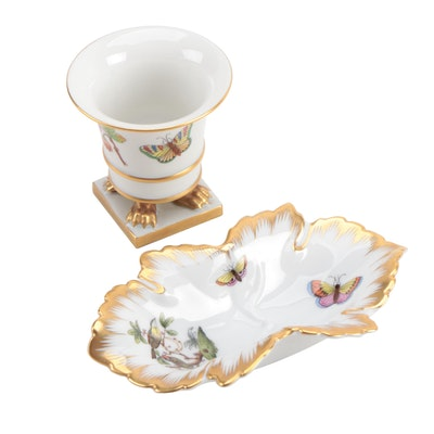 "Herend ""Rothschild Bird"" Leaf Dish and Small Claw-Footed Vase"