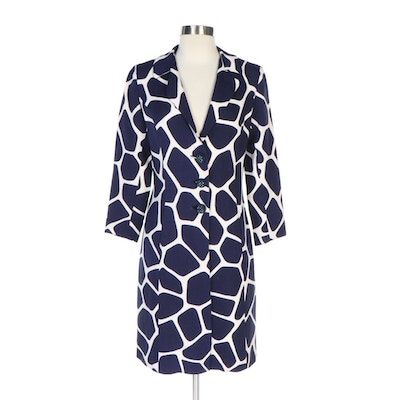 Navy Blue and White Woven Coat with Embellished Buttons, Vintage