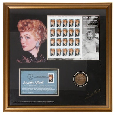 Framed Lucille Ball First Day of Issue Mint Postage Stamp Panel and Postal Cover