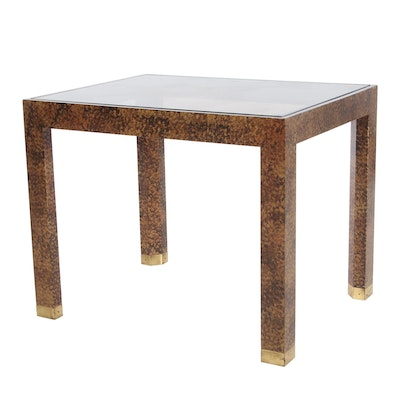 Parsons Style Tortoise Finished End Table with Tinted Glass Top