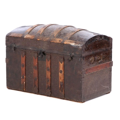 Victorian Wood and Metal Dome Top Trunk, Late 19th Century