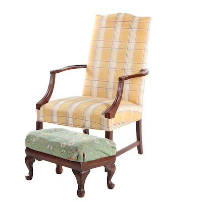 "Hickory ""Martha Washington"" Chair and Queen Anne Style Footstool"