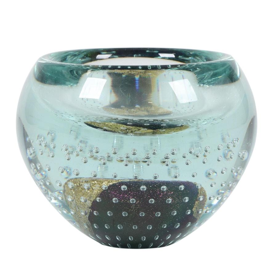 Robert Eickholt Handblown Art Glass Centerpiece Bowl, 2008