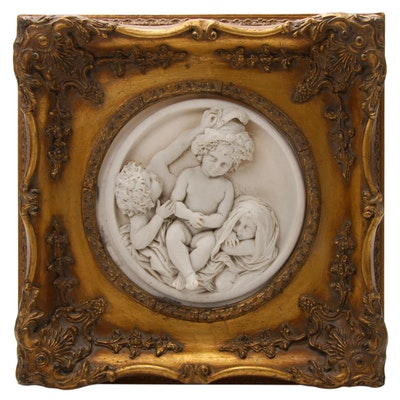 Enrico Braga Italian Marble Cherub Wall Plaque, Late 19th/Early 20th Century
