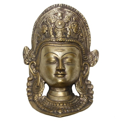Brass Tibetan Buddhist Deity Goddess Tara Durga Mask