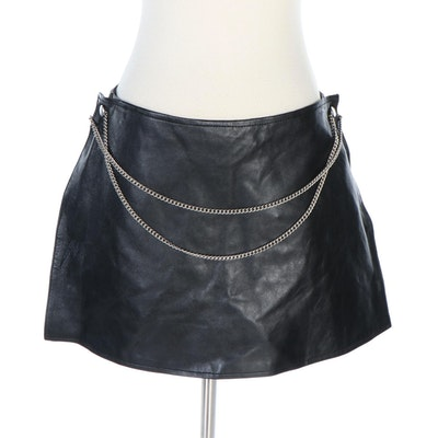 Excelled Black Leather Shorts with Chain Detail and Removable Skirt Panel