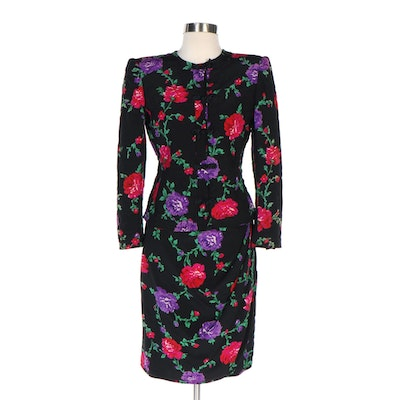 Emanuel Ungaro Floral Print Silk Quilted Jacket and Polyester Faux Wrap Skirt
