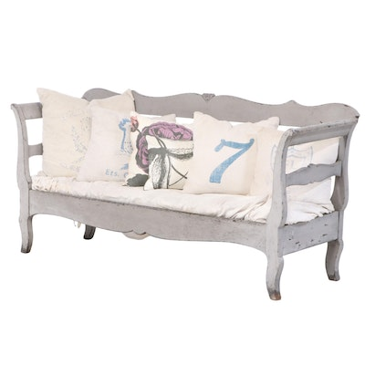 Gustavian Painted Settee with Linen Pillows, 19th Century
