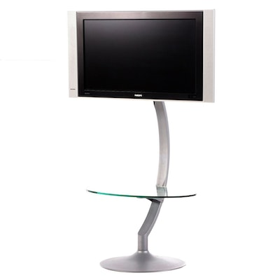 Phillips 32-Inch TV on BDI Glass Top Stand