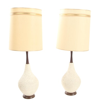 Pair of Mid Century Modern Textured Ceramic and Walnut Table Lamps