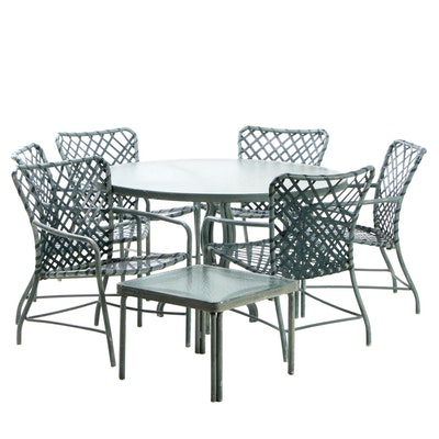Aluminum Framed Patio Dining Set in Green Paint Attributed to Brown Jordan