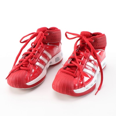 Women's Adidas Pro Model Red and White Mid-Top Basketball Shoes