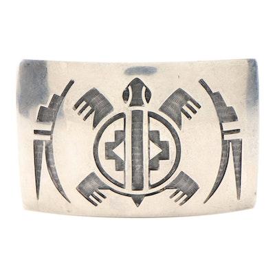 Hopi Signed Sterling Silver Belt Buckle with Stamped Turtle Motif