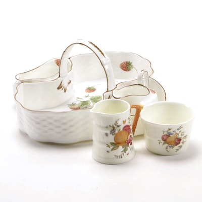 "Coalport ""Strawberry"" Bone China Tea Basket with Creamer, Sugar Bowl and More"