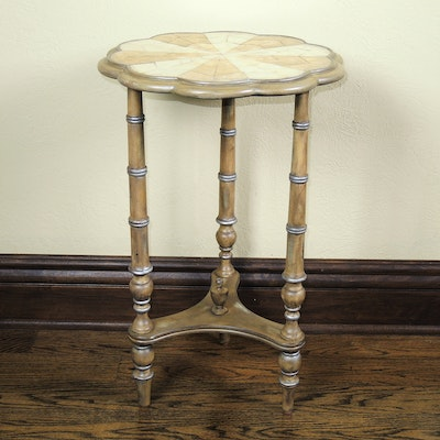 Abalone Inlay Scalloped Accent Table
