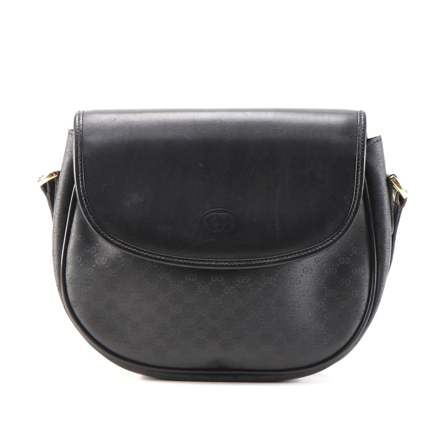 Gucci Black MicroGuccissima Coated Canvas and Leather Shoulder Bag