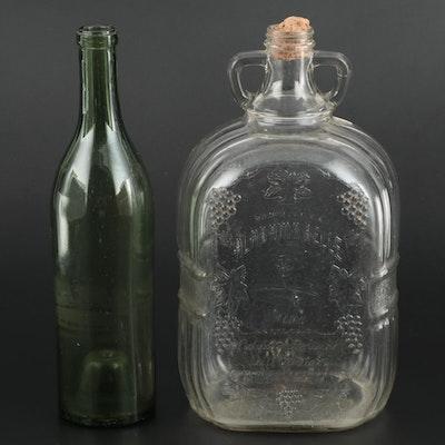 "Santa Lucia's ""Alabama Belle"" Wine Bottle with Green Glass Bottle"