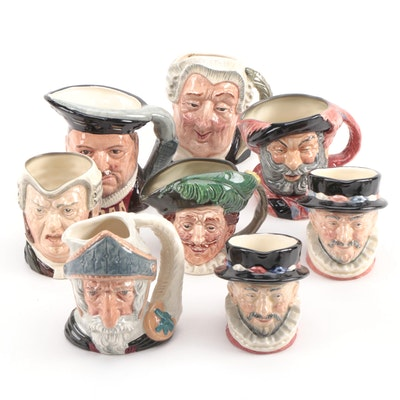 "Royal Doulton ""Henry VIII"", ""Falstaff"", ""The Lawyer"", and Other Character Mugs"