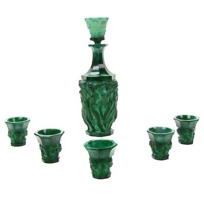 Czech Art Nouveau Malachite Glass Effigial Nude Decanter and Glasses