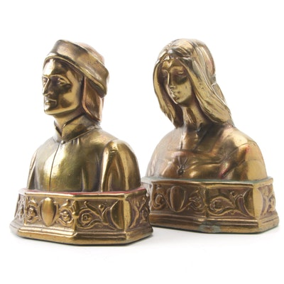 Dante and Beatrice Bookends, Mid-20th Century