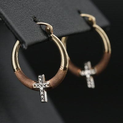 10K Two-Tone Hoop Earrings Featuring Cross Design and Textured Finish