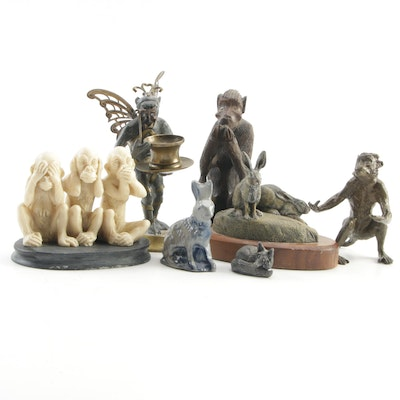 Levenger Bronze Monkey Pen Holder, Rowe Pottery Rabbit, and Animal Figurines