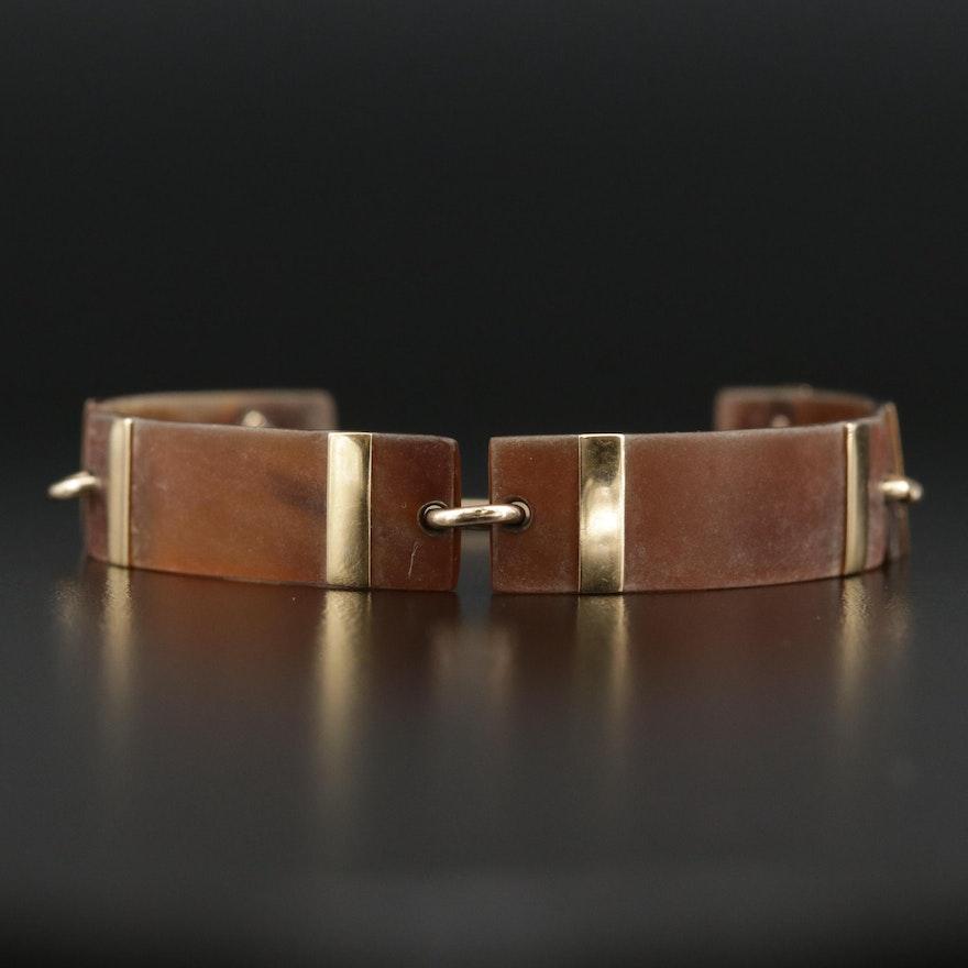 Vintage 14K Carved Tortoise Shell Bar Bracelet