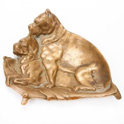 Cast Bronze French Bulldog Tray, Early 20th Century