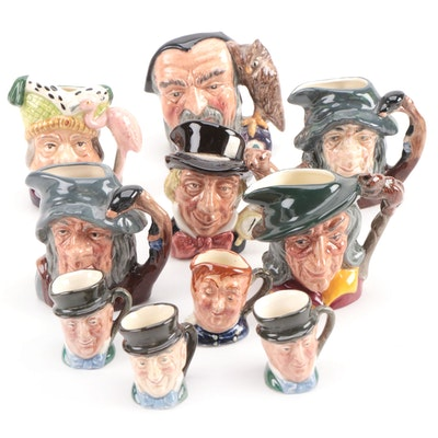 "Miniature and Tiny Royal Doulton Character Mugs Including ""Merlin"" and Others"