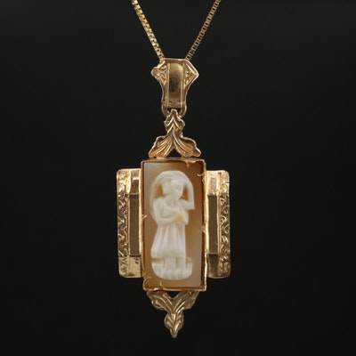 Antique 18K Carved Shell Cameo Pendant with 10K Box Chain Necklace