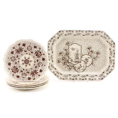 "Mason's ""Bow Bells"" Ironstone Dinner Plates with English Platter"