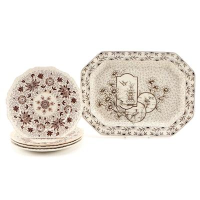 "Mason's ""Bow Bells"" Ironstone Dinner Plates with English Platter"