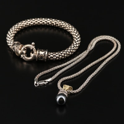Sterling Imitation Hematite Pendant Necklace with 18K Bail and Sterling Bracelet