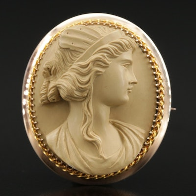 Victorian 14K Carved Lava High Relief Cameo Brooch