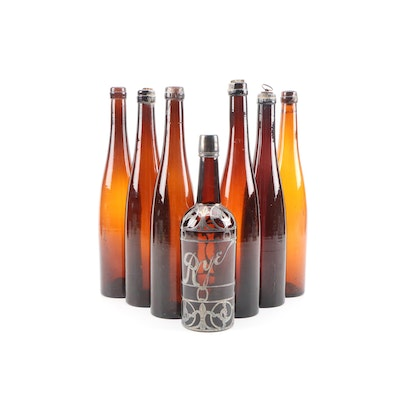 Pewter Trim Whiskey Rye and Amber Beverage Bottles, Early to Mid 20th Century