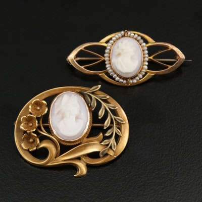 Art Nouveau 10K Cameo Shell Brooches