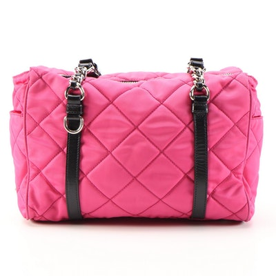 Prada Fuchsia Quilted Nylon and Black Leather Trimmed Chain Strap Shoulder Bag