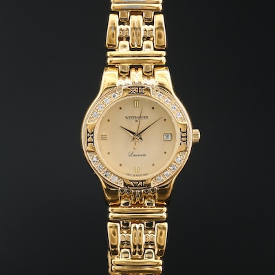 Wittnauer Laureate Diamond and Gold Tone Quartz Wristwatch