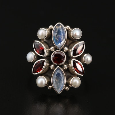 Nicky Butler Sterling Silver Moonstone, Garnet and Cultured Pearl Ring