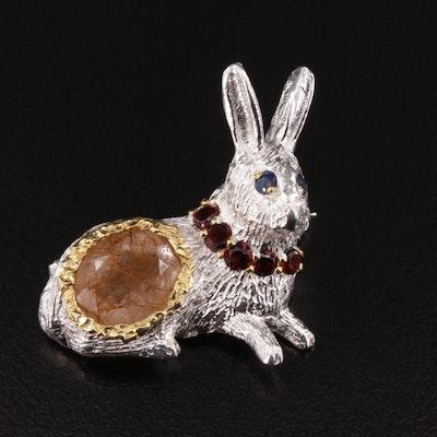 Sterling Silver Quartz, Garnet, and Sapphire Rabbit Brooch
