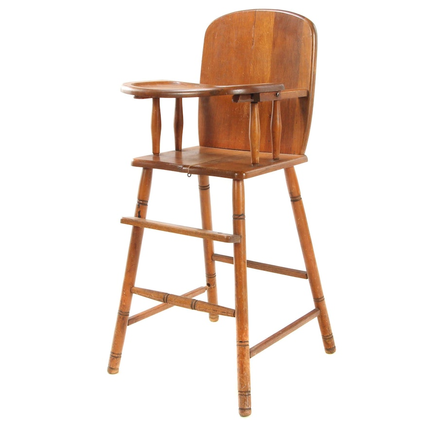 Stained Wood Child's High Chair, Early to Mid 20th Century