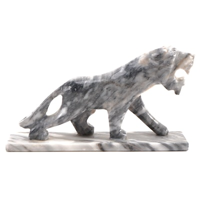 Hand Carved Marble Lioness Figurine